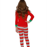 The Grinch Green Hair Monster Christmas Family Matching Sleepwear Pajamas Sets Red Monster Top and Red Stripes Pants