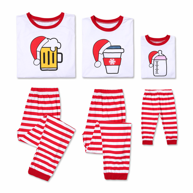 Christmas Family Matching Sleepwear Pajamas Sets White Beer Coffee Milk Top and Red Stripes Pants
