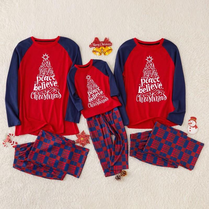 Red Slogan Christmas Tree Christmas Family Matching Sleepwear Pajamas Sets Top and Plaid Pants