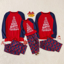 Christmas Family Matching Sleepwear Pajamas Sets Red Slogan Top and Plaid Pants