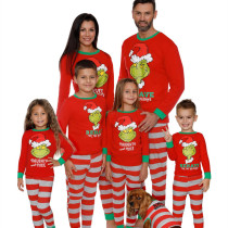 Green Hair Monster Christmas Family Matching Sleepwear Pajamas Sets Red Monster Top and Red Stripes Pants