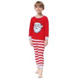 Christmas Family Matching Sleepwear Pajamas Sets Red Christmas Santa Claus Top and Stripes Pants