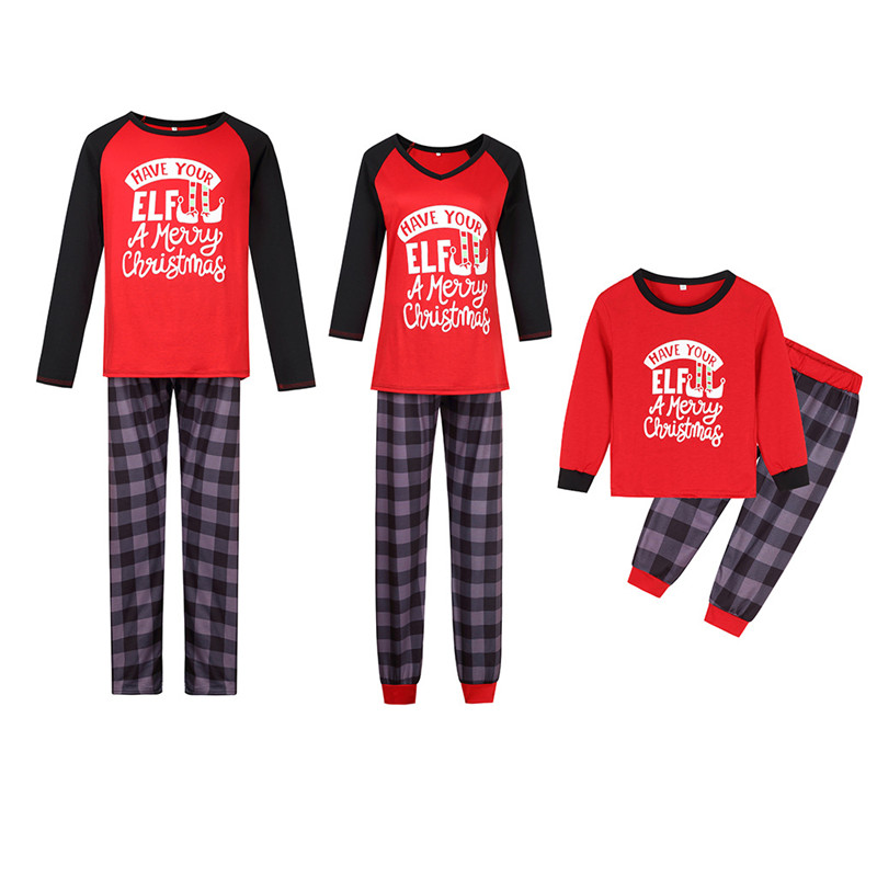 Christmas Family Matching Sleepwear Pajamas Sets Red Slogan ELF Top and Plaid Pants