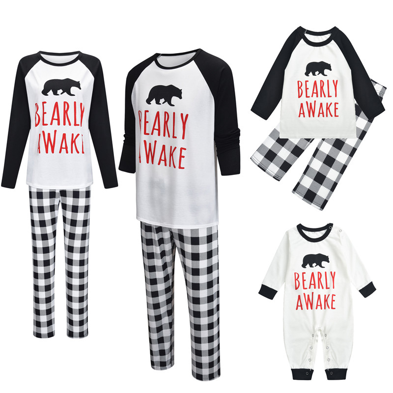 Christmas Family Matching Sleepwear Pajamas Sets White Slogan Bear Top and Plaids Pants