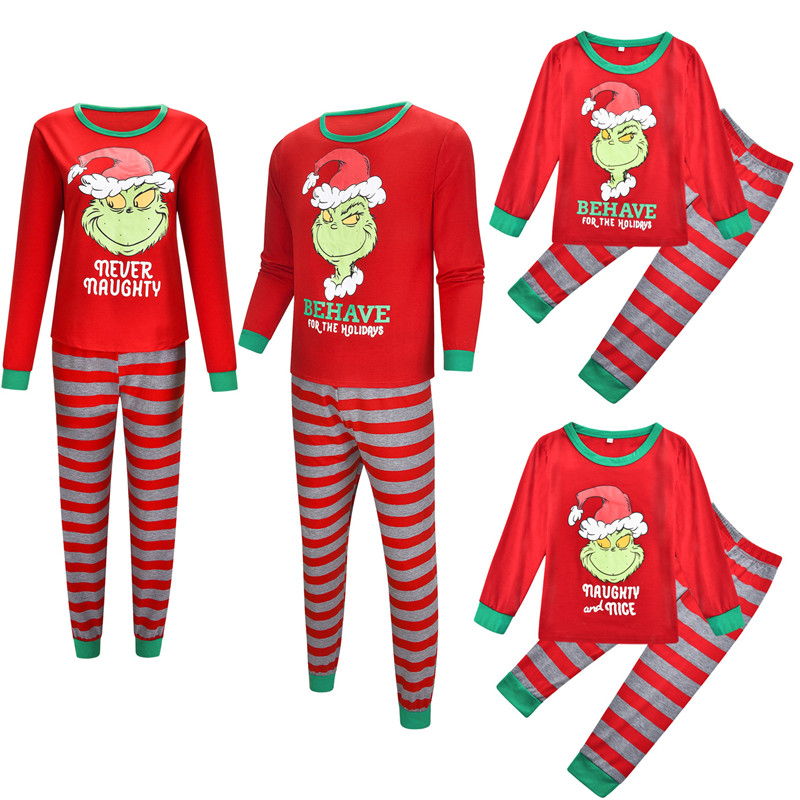 Christmas Family Matching Sleepwear Pajamas Sets Red Monster Top and Red Stripes Pants