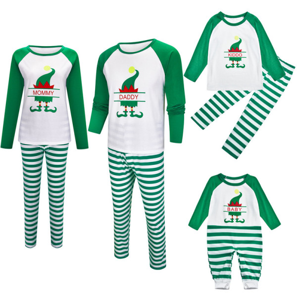 Christmas Family Matching Sleepwear Pajamas Sets ELF Mommy Daddy Baby Top and Green Stripes Pants