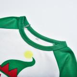 Christmas Family Matching Sleepwear Pajamas Sets White Christmas ELF Tree Top and Green Stripes Pants