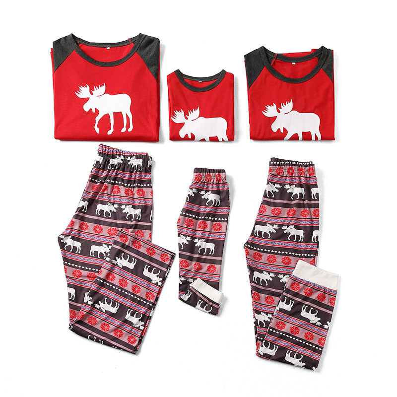 Christmas Family Matching Sleepwear Pajamas Sets Print Deers Top and Geometrical Pants