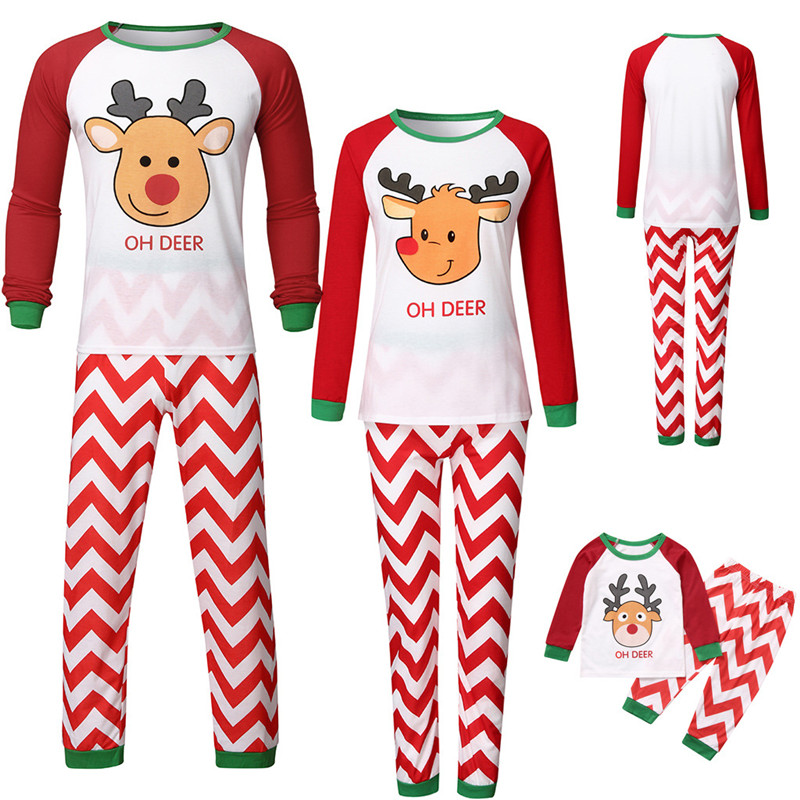 Christmas Family Matching Sleepwear Pajamas Sets Cute Deer Top and Stripes Pants
