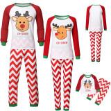 Christmas Family Matching Sleepwear Pajamas Sets Cute Deer Top and Stripes Pants