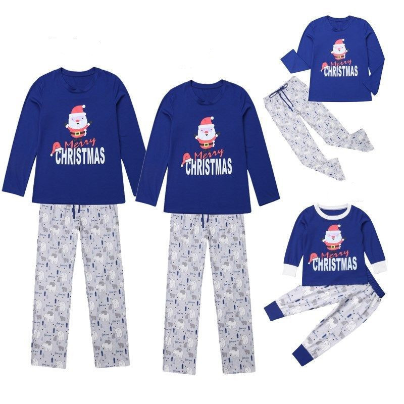 Christmas Family Matching Sleepwear Pajamas Sets Blue Top and White Bear Pants