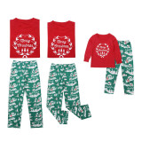 Christmas Family Matching Sleepwear Pajamas Sets Garland Top and Green Gift Box Pants