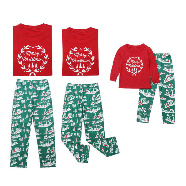 Christmas Family Matching Sleepwear Pajamas Sets Garland Top and Green Gift Box Pants
