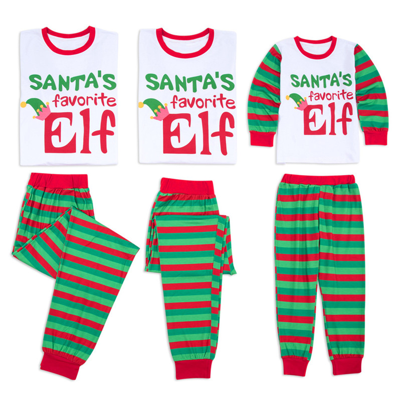 Christmas Family Matching Sleepwear Pajamas Sets ELF Slogan Top and Green Stripes Pants