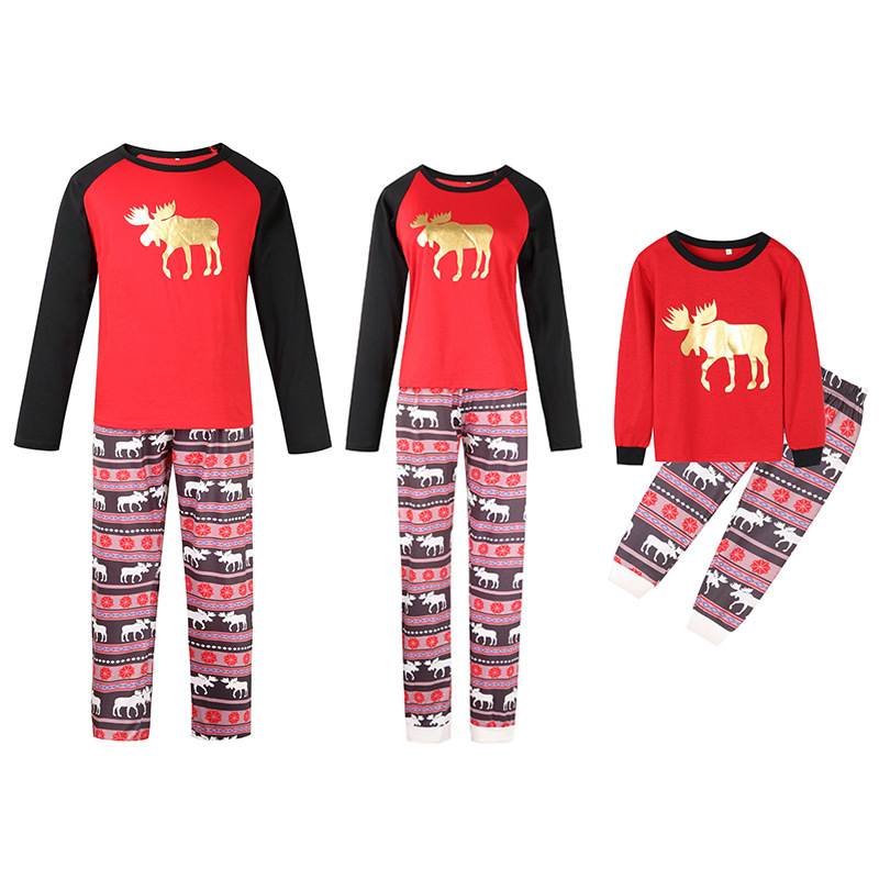 Christmas Family Matching Sleepwear Pajamas Sets Gold Moose Deer Top and Geometrical Pants