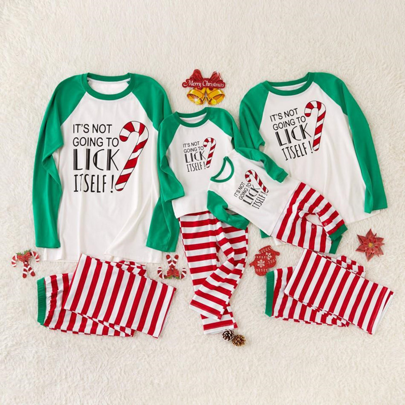 Christmas Family Matching Sleepwear Pajamas Sets Green Slogan Top and Red Stripes Pants