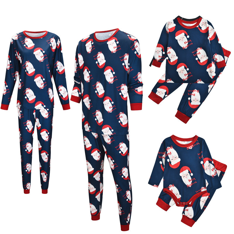 Christmas Family Matching Sleepwear Pajamas Sets Merry Christmas Santa Claus Top and Navy Pants