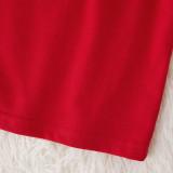 Christmas Family Matching Sleepwear Pajamas Sets Red Slogan Top and Plaid Pants