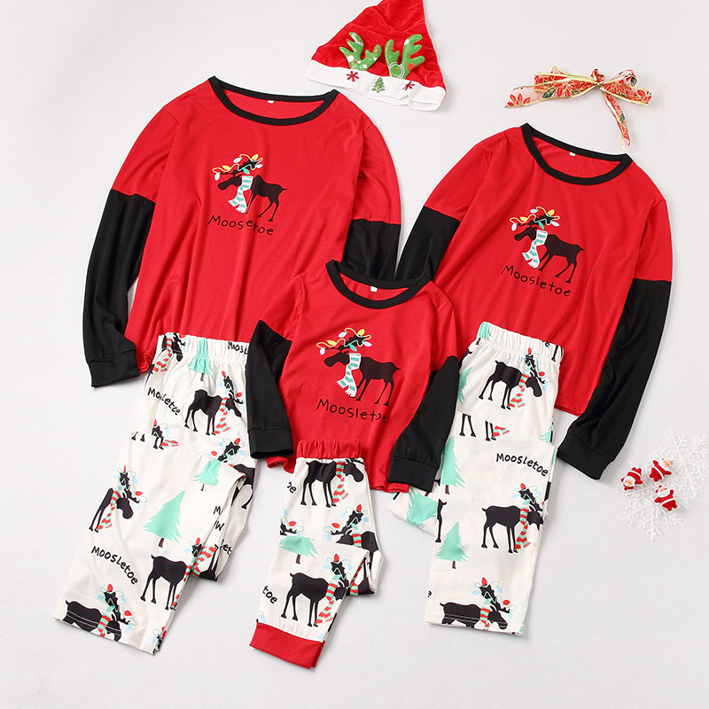Christmas Family Matching Sleepwear Pajamas Sets Red Moose Top and White Print Trees Pants