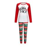 Christmas Family Matching Sleepwear Pajamas Sets White Hohoho Slogan Top and Christmas Pattern Pants