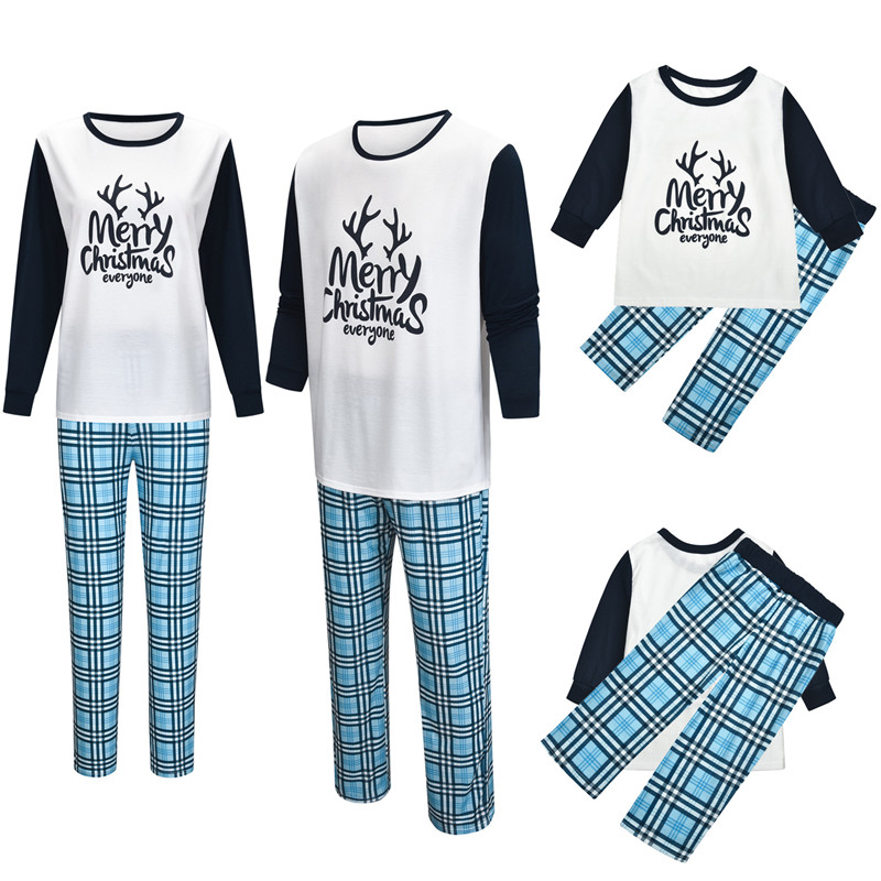Christmas Family Matching Sleepwear Pajamas Sets Christmas Slogan Top and Plaids Pants
