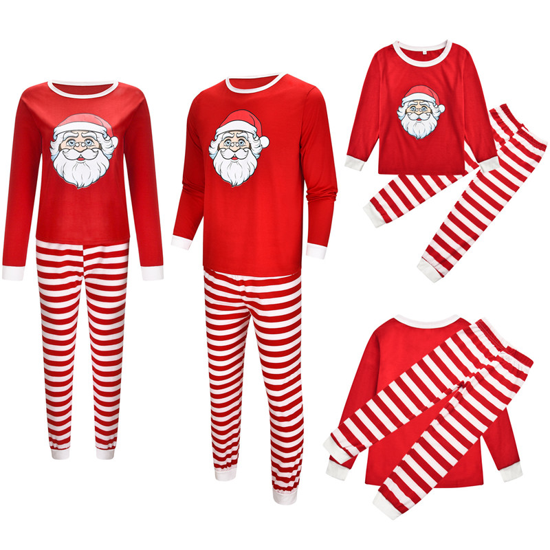 Christmas Family Matching Sleepwear Pajamas Sets Red Christmas Santa Claus Top and Stripes Pants