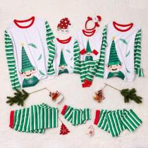 Christmas Family Matching Sleepwear Pajamas Sets Green ELF Top and Green Stripes Pants