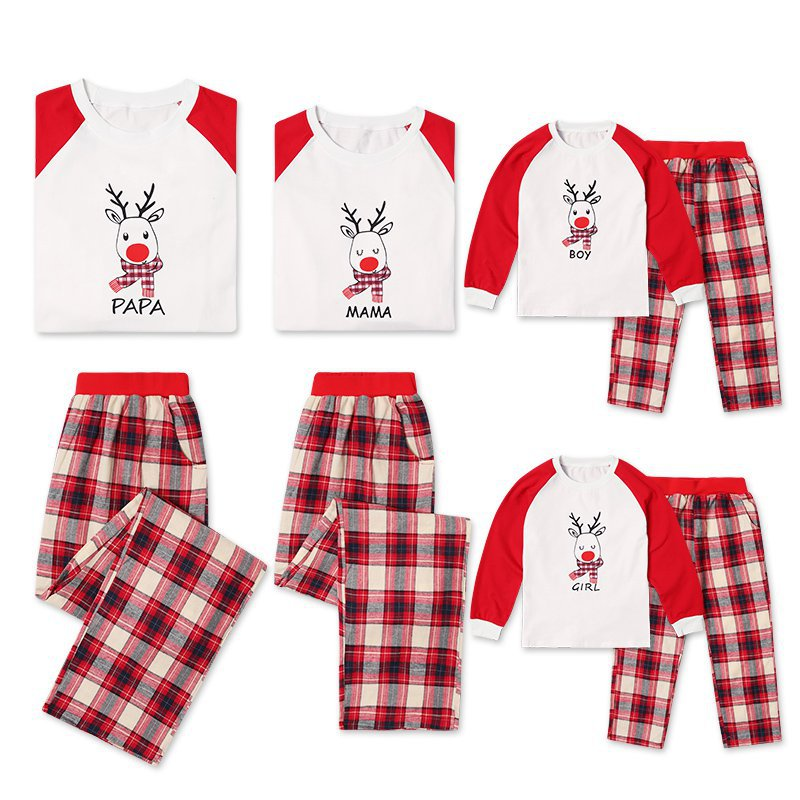 Christmas Family Matching Sleepwear Pajamas Sets Red Deer Top and Plaids Pants
