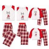 Christmas Family Matching Sleepwear Pajamas Sets Red Deer Top and Plaids Pants