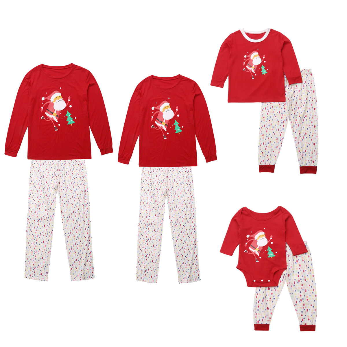 Christmas Family Matching Sleepwear Pajamas Sets Red Father Christmas Top and White Dots Pants