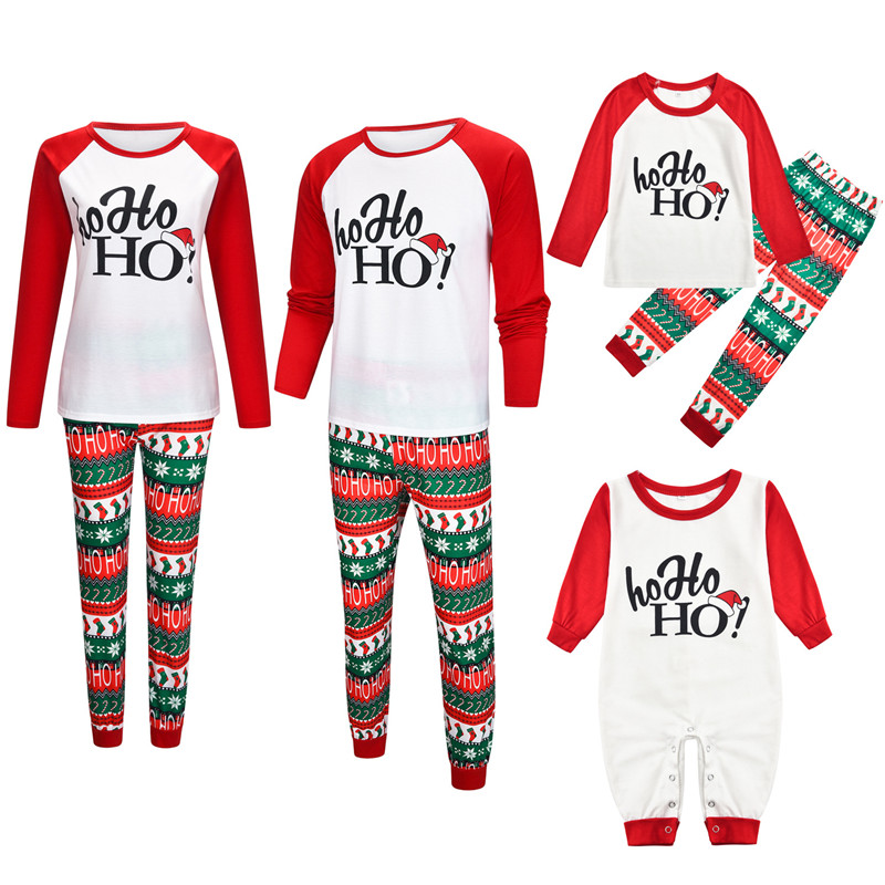 Christmas Family Matching Sleepwear Pajamas Sets White Hohoho Slogan Top and Christmas Pattern Pants