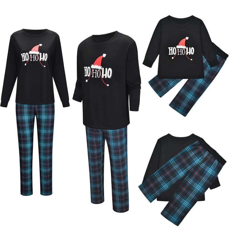 Christmas Family Matching Sleepwear Pajamas Sets Hohoho Slogan Top and Plaid Pants