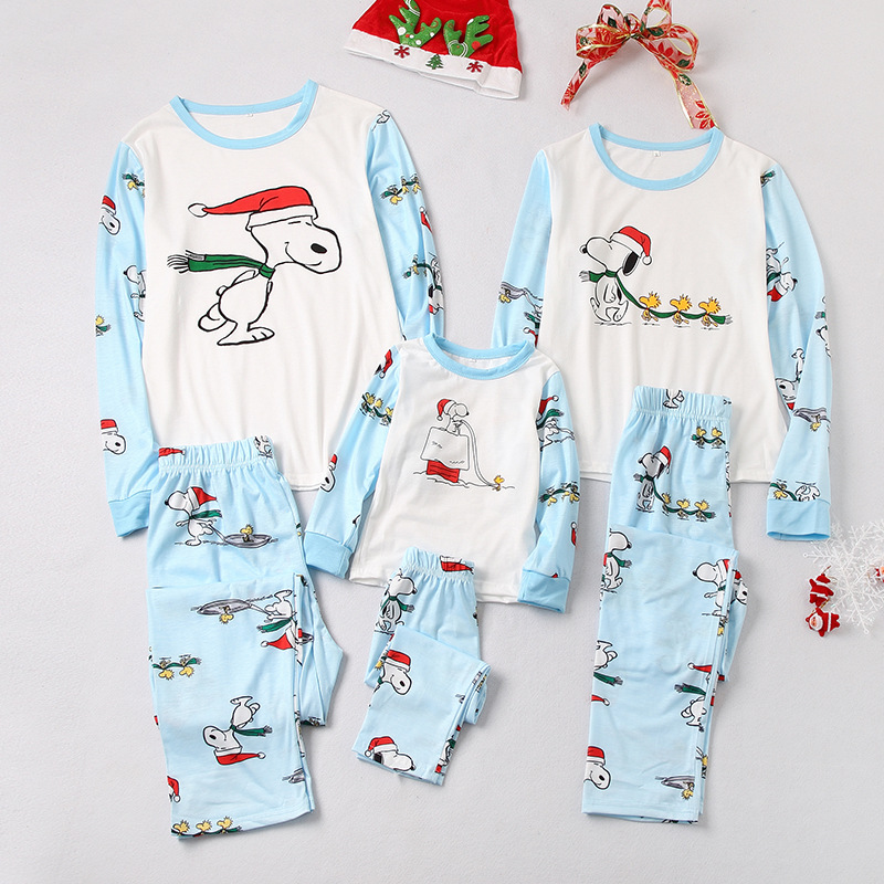 Christmas Family Matching Sleepwear Pajamas Sets Print Cartoon Snoopy Top and Pants
