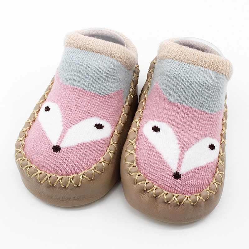 Baby Toddlers Girls Boy Cute Fox Non-Skid Indoor Winter Warm Short Shoes Socks