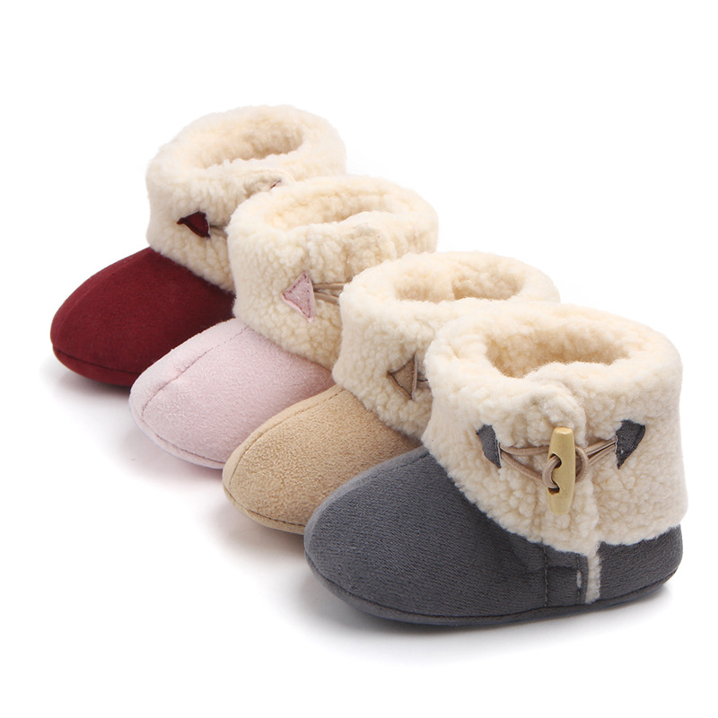 Baby Toddlers Boy Girls Flannel Wool Non-Skid Indoor Slipper Winter Warm Shoes Socks