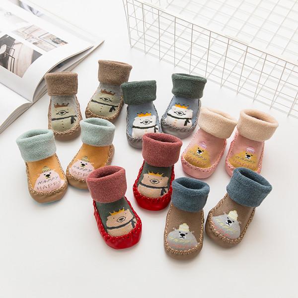 Baby Toddlers Girls Boy Cute Happy Birthday Bear Non-Skid Indoor Winter Warm Shoes Socks