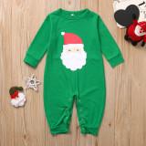 Christmas Family Matching Sleepwear Pajamas Sets Green Santa Claus Top and Red Green Stripes Pants