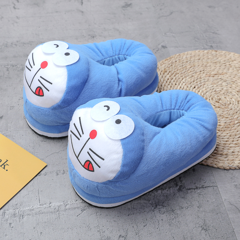 Cozy Flannel Blue Doraemon Animal House Family Winter Warm Footwear