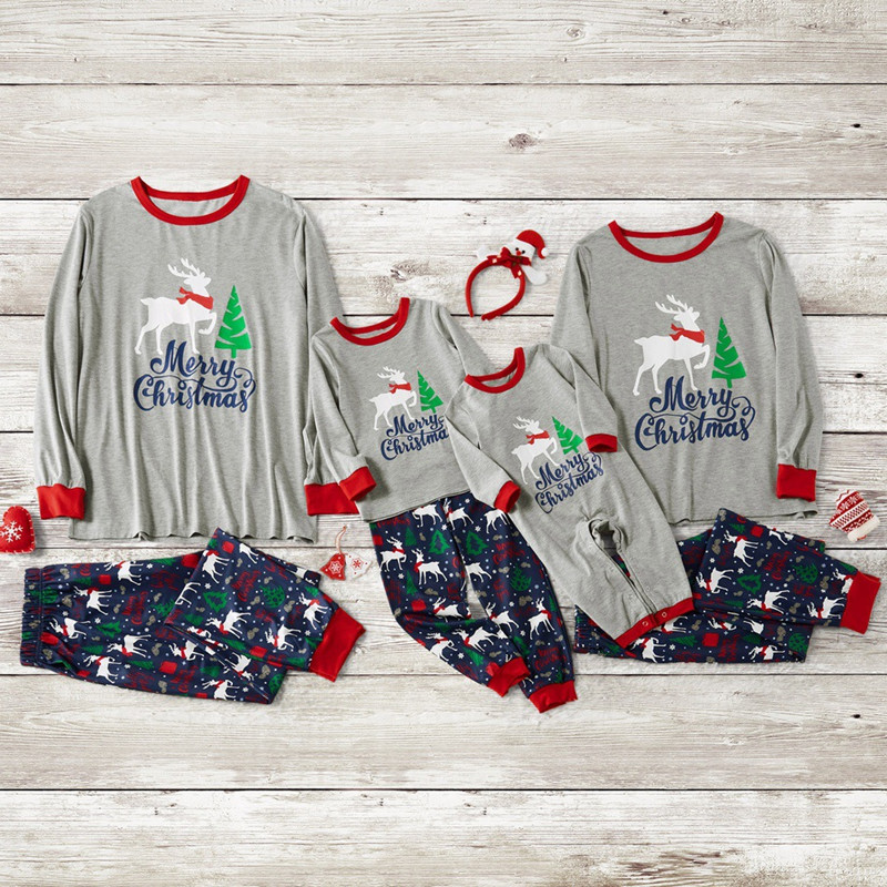 Christmas Family Matching Sleepwear Pajamas Sets Grey Deer Top and Navy Tree Pants