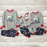 Christmas Family Matching Sleepwear Pajamas Sets Grey Deer Top and Navy Tree Pants