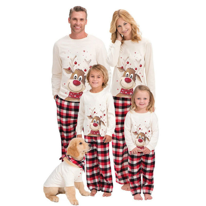 Christmas Family Matching Sleepwear Pajamas Sets White Christmas Deer Top and Red Plaids Pants