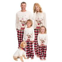 Christmas Family Matching Sleepwear Pajamas Sets White Christmas Deer Top and Red Plaids Pants With Dog Cloth