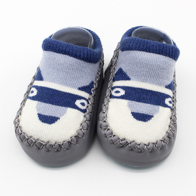 Baby Toddlers Girls Boy Cute Huskie Dog Non-Skid Indoor Winter Warm Short Shoes Socks