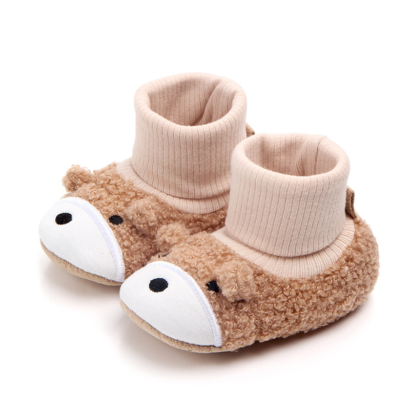 Baby Toddlers Boy Girls Plush Puppy Non-Skid Indoor Slipper Winter Warm Shoes Socks