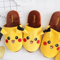 Adult Cozy Flannel Yellow Pokemon Pikachu House Winter Warm Soft Sole Slippers