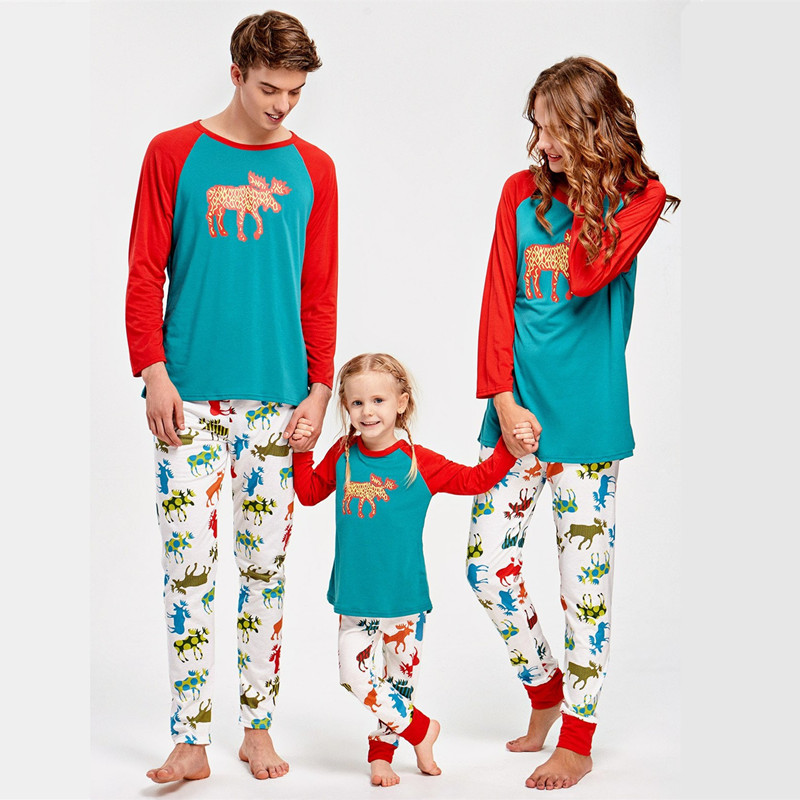 Christmas Family Matching Sleepwear Pajamas Sets Blue Moose Top and Colorful Mooses Pants