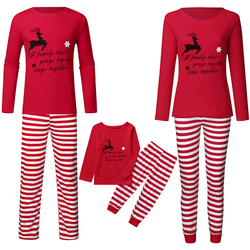 Christmas Family Matching Sleepwear Pajamas Sets Red Deers Slogans Top and Red Stripes Pants