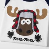 Christmas Family Matching Sleepwear Pajamas Sets Papa Mama Deer Top and Navy Prints Pants