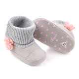 Baby Toddlers Girls Flower Non-Skid Indoor Add Wool Winter Warm Shoes Socks