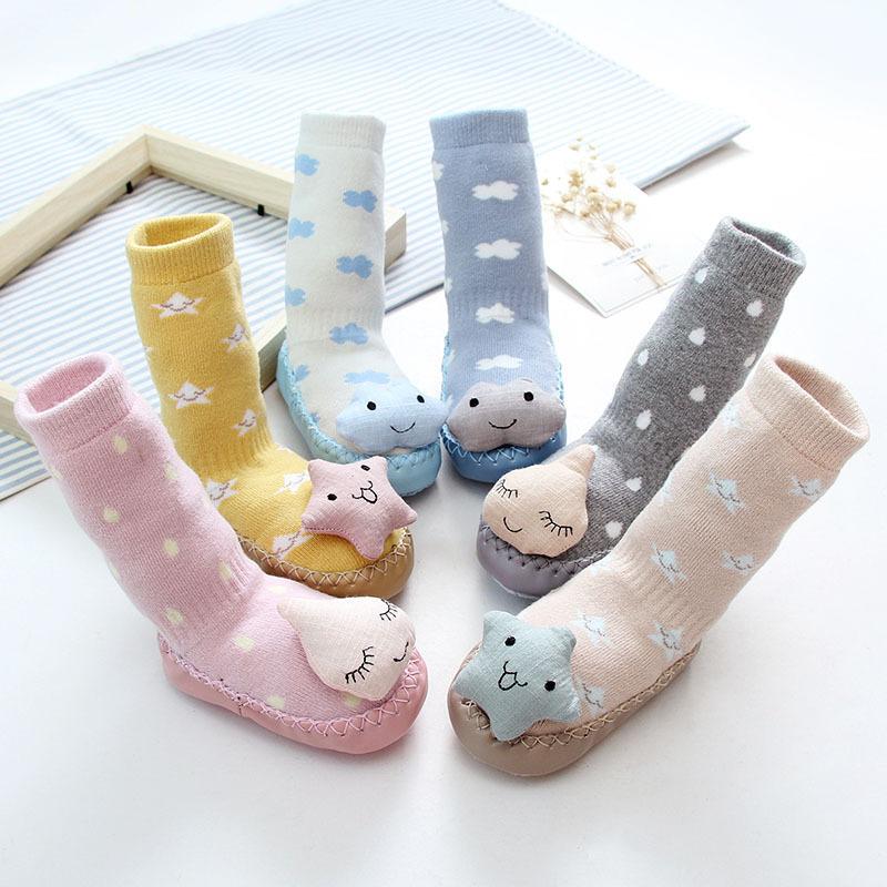 Baby Toddlers Girls Boy 3D Stars Cloud Rain Non-Skid Indoor Winter Warm Shoes Socks